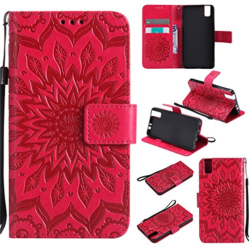 "kelman Custodia per Huawei Honor 7i / Huawei ShotX (5.2"") Cover Custodia Case - 3D Fiore Sole Moda PU Pelle Slot per Scheda, Portafoglio, Flip Custodia - [Rosso]"
