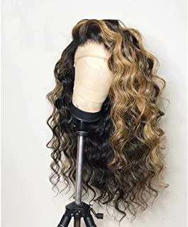 Ms.Cassie 180% Density Deep Wave 360 Lace Frontal Human Hair Wigs Pre Plucked With Baby Hair #1B/27 Ombre Color Human Hair Curly Wigs for Black Woman Brazilian Remy Hair Highlight