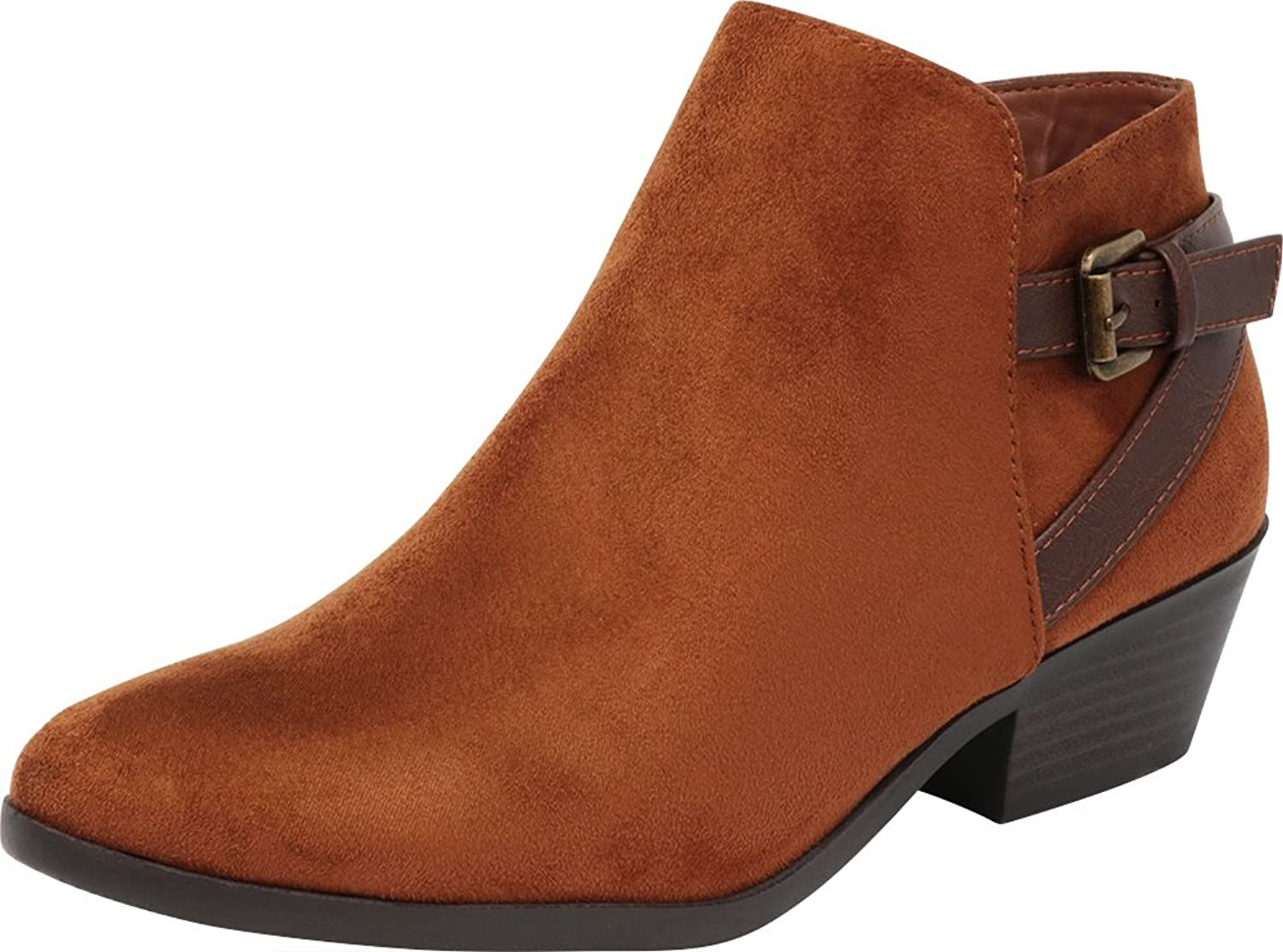 Cambridge Select Women's Closed Toe Buckled Strappy Western Cowboy Chunky Stacked Block Heel Ankle Bootie