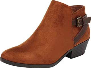 Cambridge Select Women's Western Strappy Buckle Low Stacked Heel Cowboy Ankle Bootie