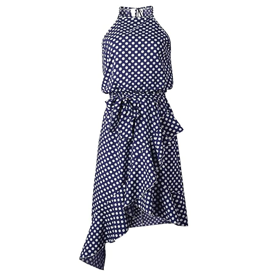 組み合わせメッセンジャー原告Onderroa - 夏のドレスの女性の新しいファッションホルターポルカドットプリントカジュアルドレスレディースフリルエレガントなドレス