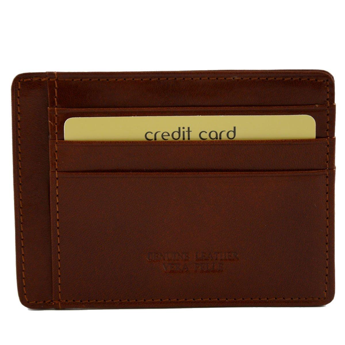 嫌なスラック居眠りするMade In Italy Genuine Leather Card Holder 9 Compartments Color Brown - Accessories