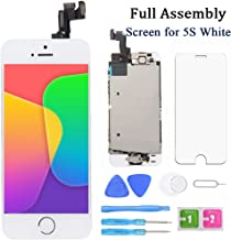 Screen Replacement for iPhone 5s White 4 Inch LCD Display Full Assembly Touch Digitizer A1453 A1457 A1518 A1528 A1530 with Home Button, Front Camera, Proximity Sensor, Earpiece and Screen Protector