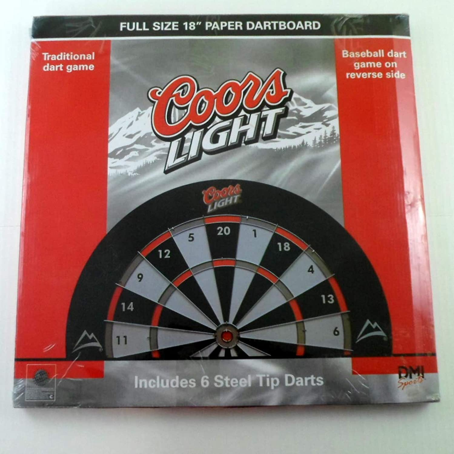 Coors Light Full Size 18  Dartboard with 6 Steel Tip Darts