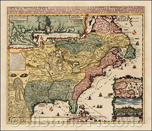 Historic Map - Carte De La Nouvelle France, ou se voit le Cours des Grandes Rivieres de. S. Laurens & de Mississipi, 1719, Henri Chatelain v3 51in x 44in
