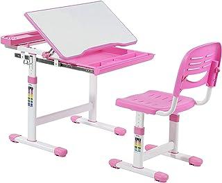 Mecor Bureau pour enfant avec chaise et tiroir, hauteur réglable pour étudiant pour enfants, bureau multifonction