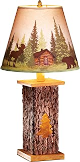 Northwoods Cabin Pine Tree Scene Tabletop Tree Trunk Lamp, Charming Lodge Decor with Moose and Bears