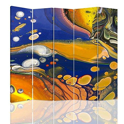Feeby - Raumteiler - Trennwände – Foto Paravent – Spanische Wand - Bedruckt aufLeinwand – Trennwand – Deko Design – Paravent beidseitig - 5 teilig 180x150 cm - Color Abstract Navy Blue Orange