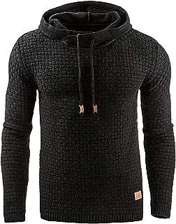 Macondoo Mens Pullover Fit Hoodie Sport Jacquard Sweatshirts