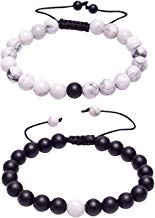 J.Fée Distance Couples Bracelet His-and-Hers Bracelet de Relations Howlite Blanc Mat Onyx Noir 7in & 8in