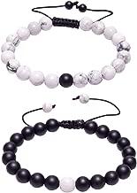 J.Fée Distance Couples Bracelet His-and-Hers Bracelet de Relations Howlite Blanc Mat Onyx Noir 7in & 8in