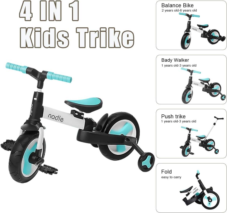 OLYSPM 4 en 1 Tricycle V/élo Enfant Tricycle V/élo Draisienne,avec Putter,Corps agrandi,Tricycle Pliable Enfant,Tricycle pour B/éb/é 1-6 Ans V/élo sans P/édale