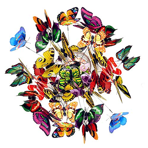 50Pcs Garden Butterflies on Sticks Dragonflies Colorful for Crafts Plastic Butterfly Patio Ornaments for Indoor/Outdoor Yard, Patio Plant Pot, Flower Bed, Home Decoration
