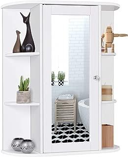 Tangkula Bathroom Cabinet, Single Door Wall Mount Medicine Cabinet with Mirror(2 Tier Inner Shelves)