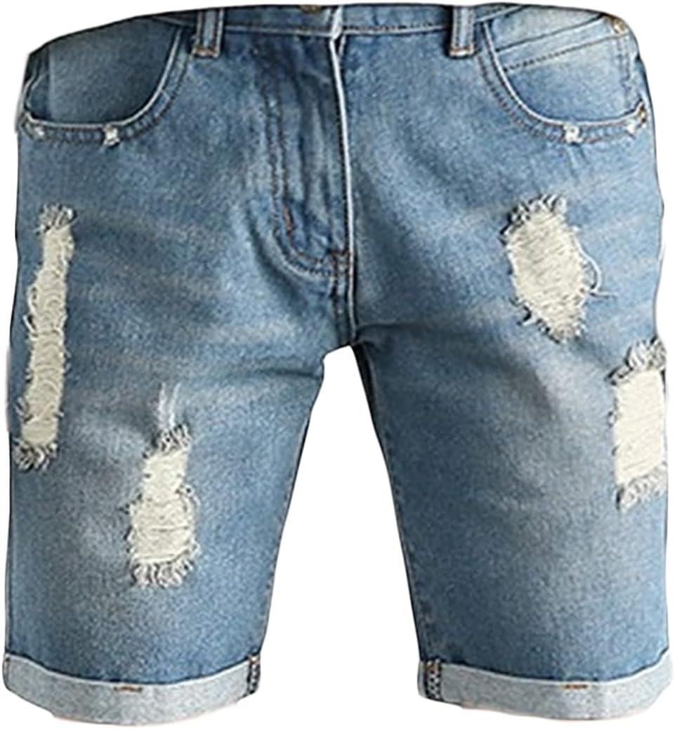 Mens Slim Fit Ripped Hole Jean Short Casual Classic Turn Up Cuff Denim Short-Pant Personality Retro High Stretch Denim Shorts (Light Blue,32)