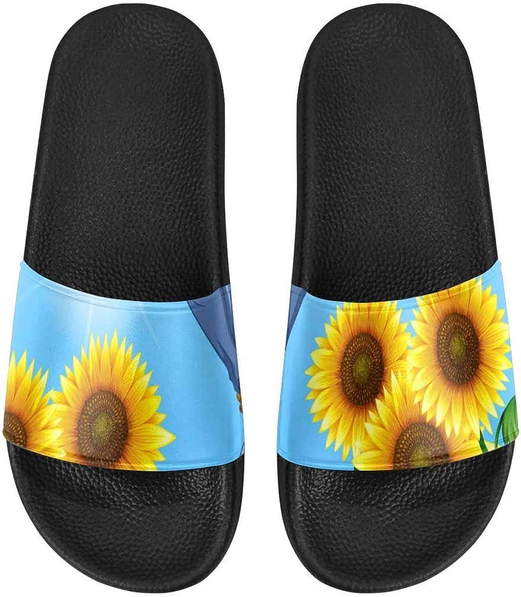 InterestPrint Women's Stylish Slipper Sandals for Summer Roses Poppies Daisies