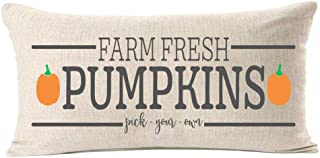 MFGNEH Farm Fresh Pumpkins Cotton Linen Fall Pillow Covers 12x20 Inches Fall Decor Farmhouse Autumn Cushion Case for Sofa