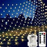 Red de luces de red con batería, 1,5 m x 1,5 m, 100 luces LED de red, para bodas, exteriores, camping, barbacoas, cumpleaños, mando a distancia, 8 modos, temporizador, regulable