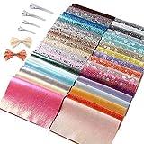 Sntieecr Lot de 36 feuilles de tissu en simili cuir brillant avec 60 pinces à cheveux en métal 2 tailles pour nœuds à cheveux, pinces à cheveux, sacs à main et travaux manuels (16 x 21 cm)