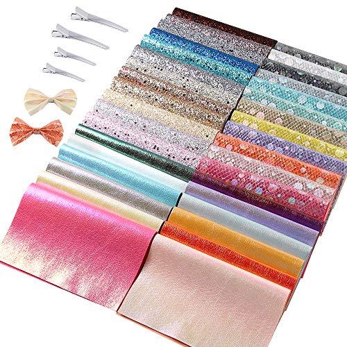 Sntieecr 36 Stück Glänzende Stoffbögen, A5-Größe, Glitzerstoff und 60 Stück 2 Größen Metall-Haarspangen für das Basteln von Haarschleifen, Haarspangen, Handtaschen (16 x 21 cm)