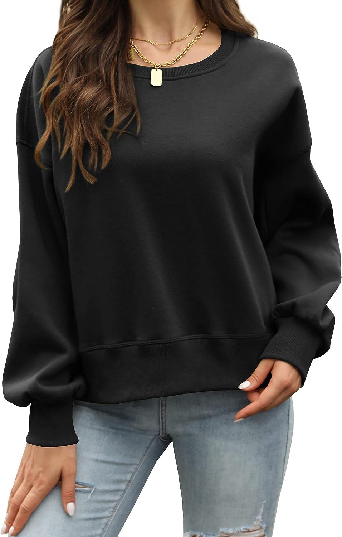 Wenrine Womens Oversized Sweatshirt Crewneck Lantern Sleeve Casual Loose Solid Color Pullover Tops