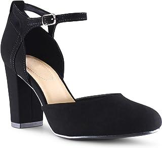 MARCOREPUBLIC Quebec Women's Almond Toe Ankle Strap Memory Foam Cushion Chunky Block Heels Shoes - (Black NB) - 5