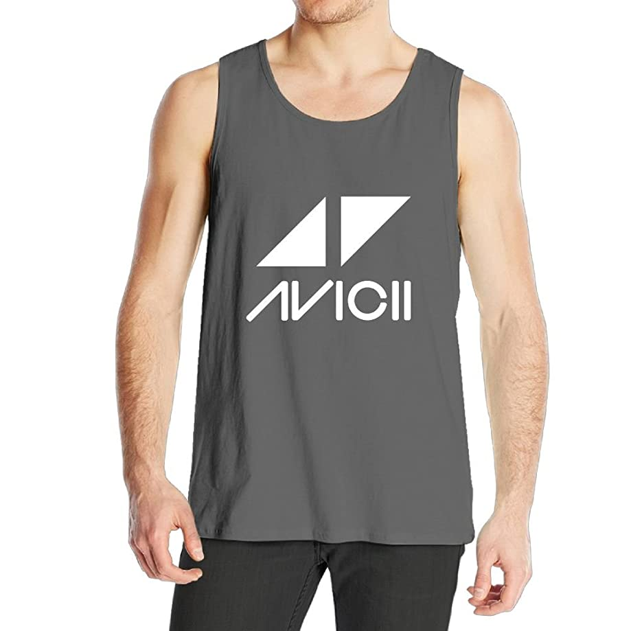 Quliuwuda Men's Interesting Avicii Logo Cool Outdoor DeepHeather Sleeveless Shirt Tank Tops
