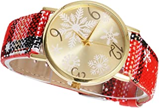 Christmas Theme Round Wristwatch Alloy Case Watch Stainless Steel Buckle Women Girl Wrist Accessories