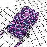 Mdsfe Moda Mini Mujeres Hangbag Canvas Messenger Bag Teléfono móvil Monedero Monedero Embrague Bolsillo de Viaje Feminina Bolsos Mujer-Estrella de Cinco Puntas, 9x17x3cm