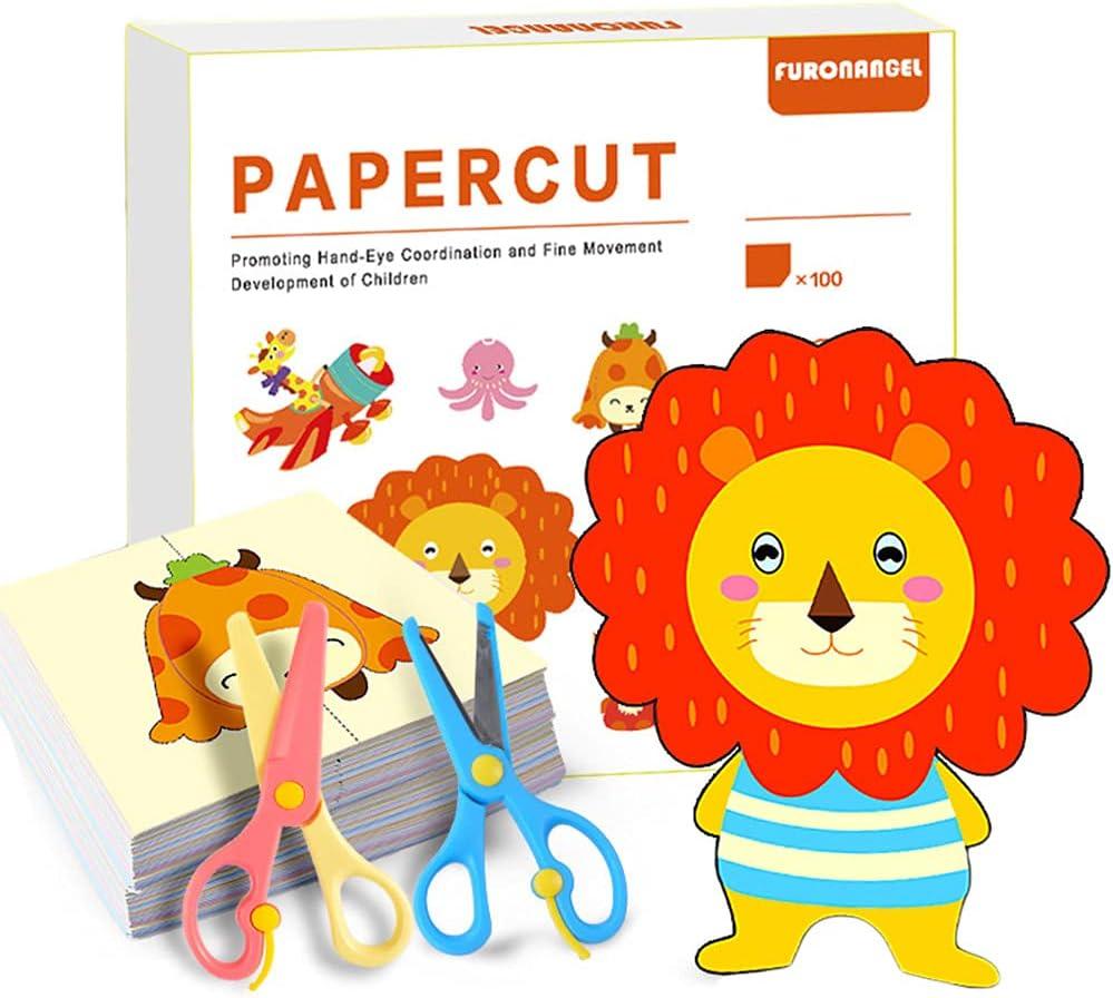 Juego de actividades de corte de papel con tijeras, tijeras para niños, tijeras de bricolaje para niños y niñas en el jardín de infancia