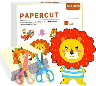 Kit d'activités de découpe de papier avec ciseaux pour enfants - Outil de développement précoce pour les garçons et les fi...