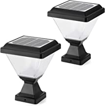 ENGREPO Solar Post Cap Lights 3000K Outdoor,Dusk to Dawn Auto On/Off Solar Powered Post Lights for Wood Fence, Pathway, De...