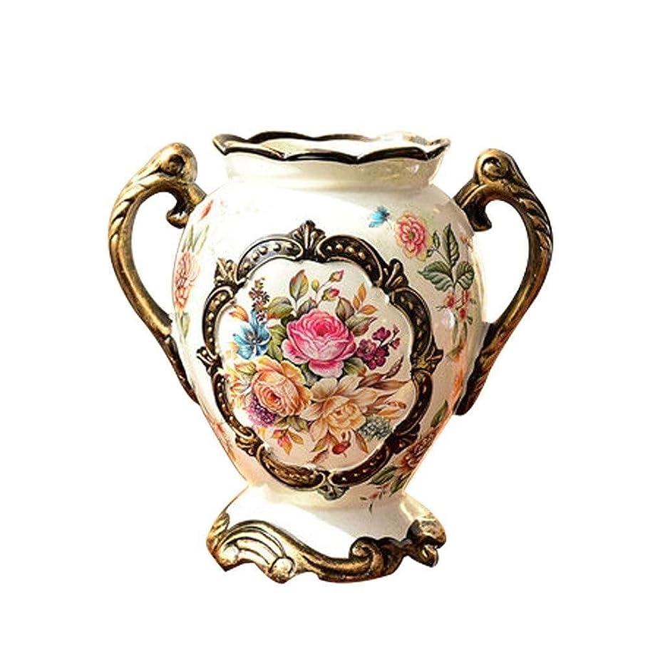 リレー罰リップ花瓶 ヨーロッパのレトロな二重の耳世帯リビングルームのテレビキャビネット表磁器装飾装飾工芸、21x20.5x10.5cmで乾燥させ、人工花のアレンジメント用セラミック花瓶、