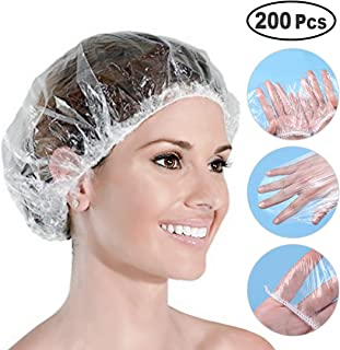 200-Pcs Disposable Shower Caps - Clear Waterproof Plastic Shower Caps Bath Shower Hair Caps for Spa, Home Use, Hair Salon and Hotel, Portable Travel