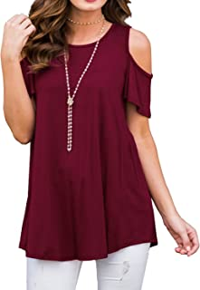 PrinStory Women's Short Sleeve Casual Cold Shoulder Tunic...
