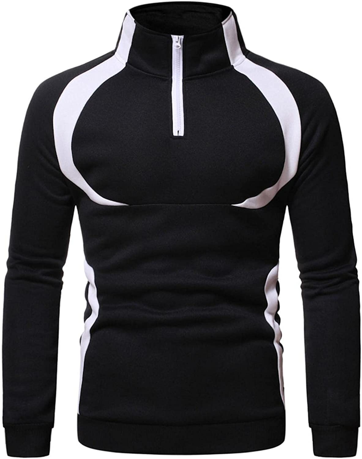 Pullover for Men Fashion Mens Athletic Hoodies High-necked Half Zipper Sweatshirt Long Sleeved Sport Gym Pullover
