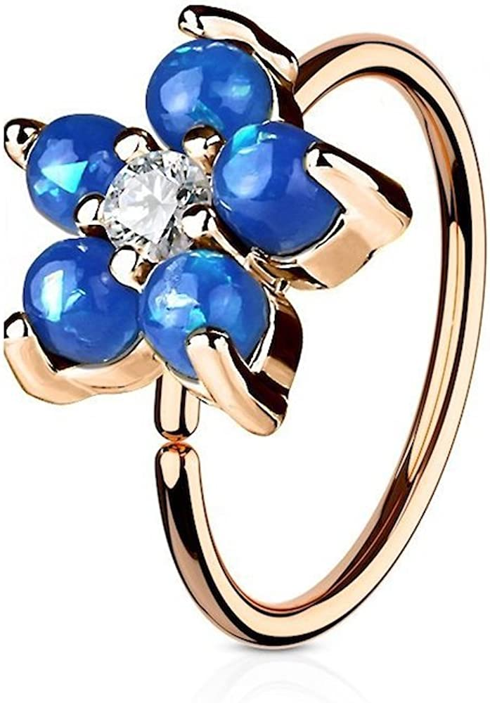 Covet Jewelry Rose Gold IP Opal Glitter Flower Petals CZ 316L Surgical Steel Hoop Ring for Nose & Ear Cartilage