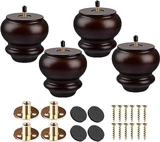 Btowin - Patas de madera maciza para muebles 4 unidades color negro diseño de calabaza redonda con roscas de 5/16 pulga...
