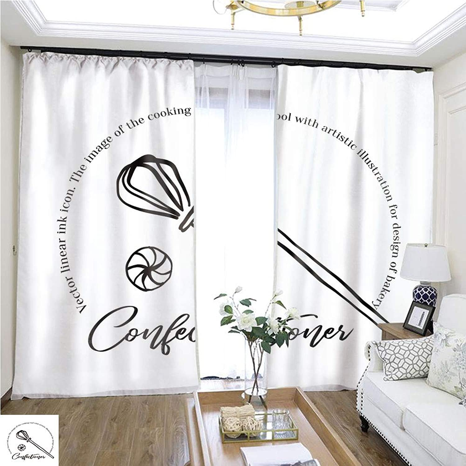 Air Port Screen Confectionery Emblem Black Ink line Art W96 x L132 Block The Sun Highprecision Curtains for bedrooms Living Rooms Kitchens etc.
