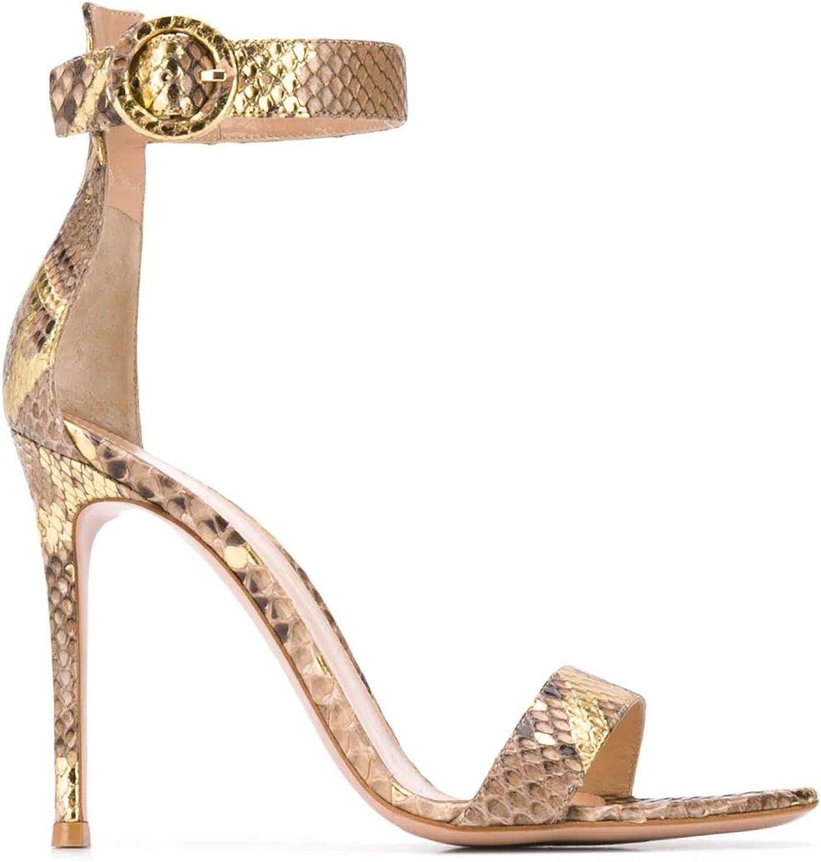 Gianvito Rossi Damen G6109615RICPWM Gold Leder Sandalen