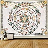 Mandala Tapestry Floral Medallion Tapestry Sketched Flower Plant Tapestry Bohemian Hippie Tapestry for Room (51.2 x 59.1 inches)