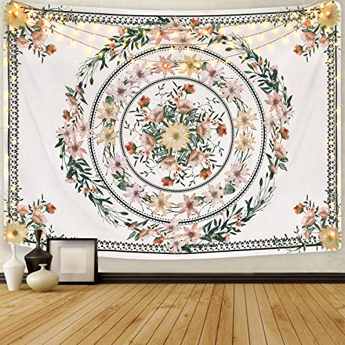 Mandala Tapestry Floral Medallion Tapestry Sketched Flower Plant Tapestry Bohemian Hippie Tapestry for Room(59.1 x 82.7 inches)