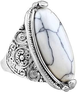 KassarinShop New Vintage Men Women 925 Silver Turquoise Gem Wedding Jewelry Ring Size 7-10 (White) (8)