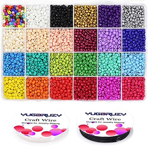 Multicolor Beading Glass Seed Beads Bulk- 7200PCS 4mm 6/0 Pony Beads Kit Small Tube Round Beads Assorted Kit Opaque Beads Supplies with Crystal Rope for Jewelry Bracelet Making & Beading