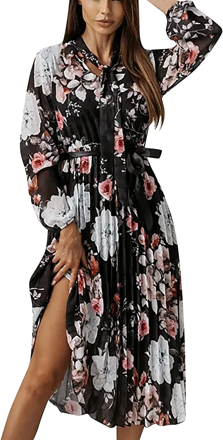 Womens Dresses Casual Chiffon Dress Floral Print Sundress Lace Up Midi Skirt Pleated Swing Cocktail Dress with Belt