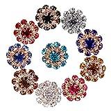 20 Pezzi Yofuly Bottoni a Cupola in Cristallo Dorato, con Diamanti Sintetici Lucenti di Alta Qualità, per Decorare Cappotti e Cucire Indumenti, 10 Colori