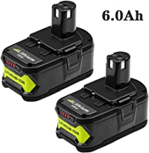 2 Packs 6.0Ah High Capacity P108 Battery Replacement for Ryobi 18V Lithium Ion Battery..