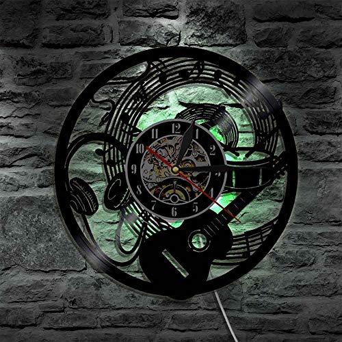 YUN Clock@ Wanduhr Aus Vinyl Schallplattenuhr Upcycling LED Gitarren kopfhörer Familien Dekoration 3D Design-Uhr Wohnzimmer Schlafzimmer Restaurant Wand-Deko Ø: 30 cm