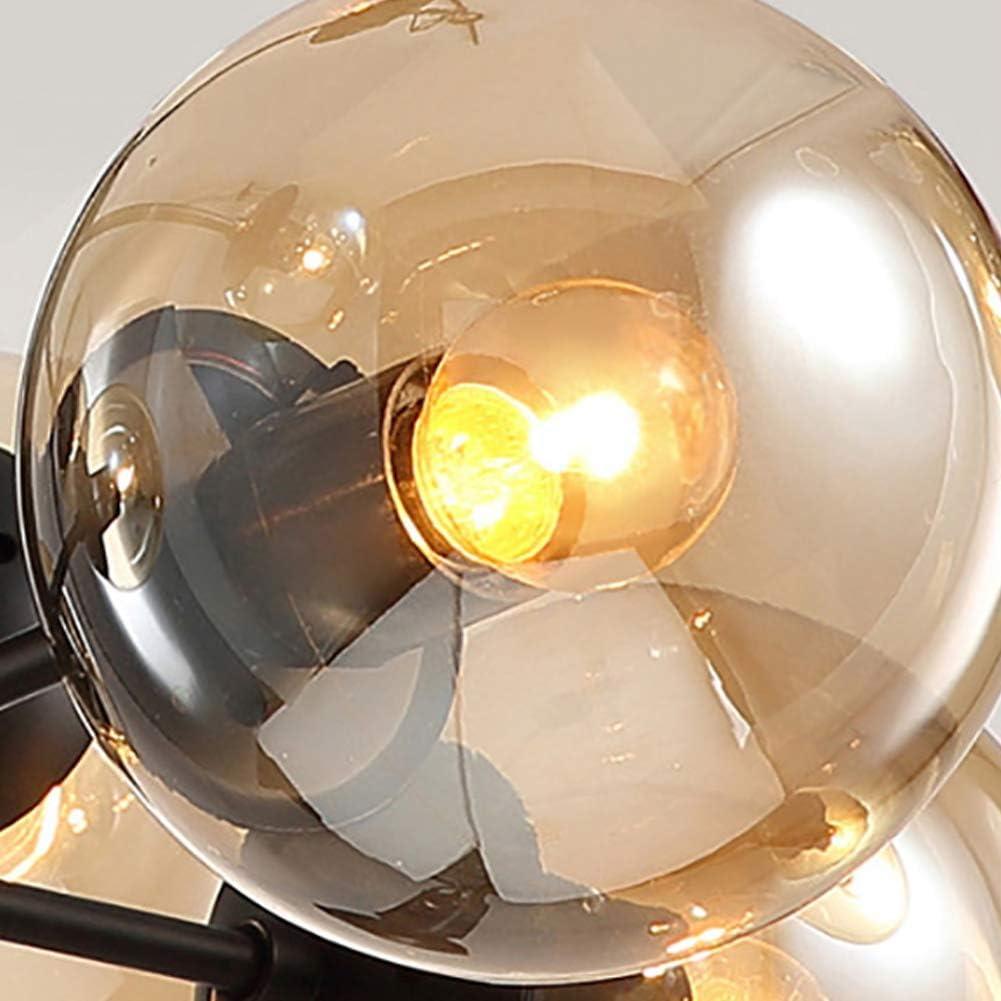 Lustre en boule de verre nordique Spoutnik r/églable E26 antique pendentif lumi/ère 6 lumi/ères branche Vintage lustres en m/étal plafonniers pour chambre restaurant salon-ambre 6 lumi/ères