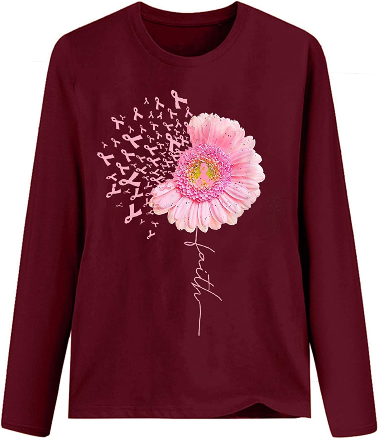Long Sleeve for Women Breast Cancer Top Casual Tops O-Neck Sweatshirt Pullover Blouse for Ladies